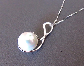 White Tahitian Pearl Necklace Sterling Silver - White Pearl, Sterling Silver Necklace, White Pearl Necklace, Modern Jewelry