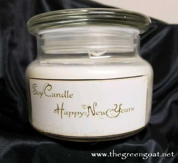 Happy New Year Wood Wick soy Container Candle