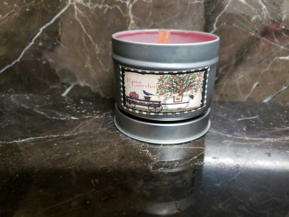 Rose Garden Soy  wood wick Candle Travel tin