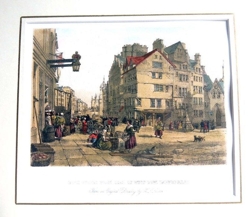 3f9a53f1c03 Edinburgh High Street West Bow Lawn Market Lithograph Giclee | Etsy