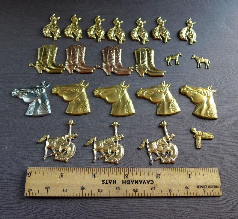 Western Themed Cowboy Horse Holster Boots Rider Brass Metal Stampings and Charms Lot of 22 for Jewelry Craft Embellishment Brass Stampings