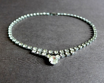 Vintage Clear Rhinestone Necklace, 14 inch Girl Tween Teen Sparkly Necklace, Simple Single Strand Rhinestone Necklace Choker