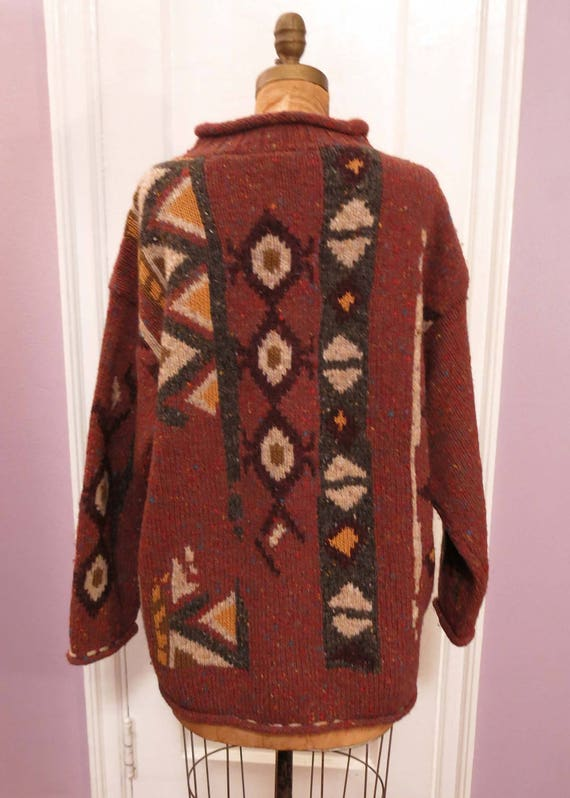 Abstract Pullover Multicolor English L Heavy Sweater Heavy London Sweater Wool Assets Design Burgundy Ski M Vintage Wool Handknit Wool 7x6qvSqw