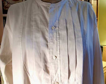25% OFF Vintage White Cotton Pleated Front Formal Tuxedo Shirt XL