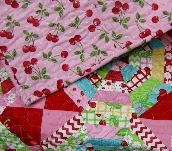 Sweet Cherry Lemonade Contemporary Modern Quilt