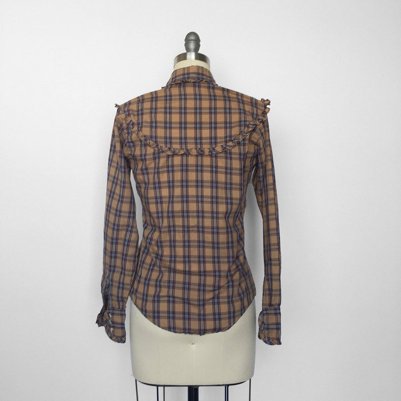 SALE Ruffle Western Plaid Button Up VIntage Western Shirt Small