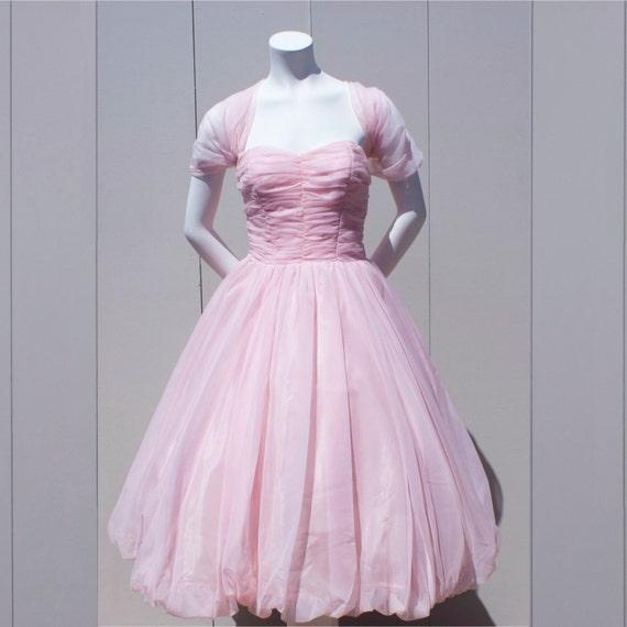 Vintage 1950's Dreamy Cupcake Chiffon Pale Pink Pr