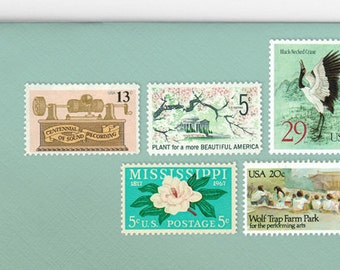 Posts (5) 2 oz wedding invitations - Mint green and blush pink unused vintage postage stamp sets (2 ounce 71 cent rate)