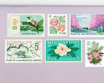Posts (5) 2 oz wedding invitations - Floral bouquet unused vintage postage stamp sets (2 ounce 71 cent rate)