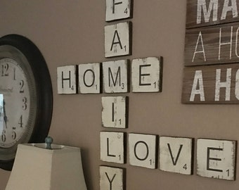 large letter tiles for the wall home decor gallery wall decor rustic home decor wood signs