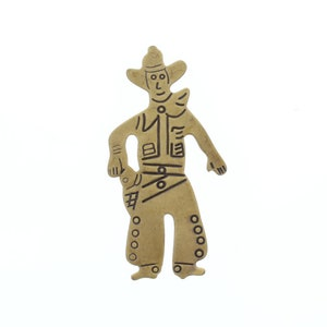 made in USA 2 long flat gold brass 2166AG Western Cowboy Stamping pack of 6