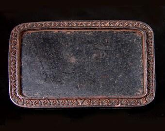 Engraved Rectangular Frame Gold and Sterling Silver Plated Western Belt Buckle