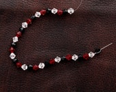 Red, Black, Clear Faceted Bi-cone Fire-n-Ice Crystal, 6mm (7236 6)