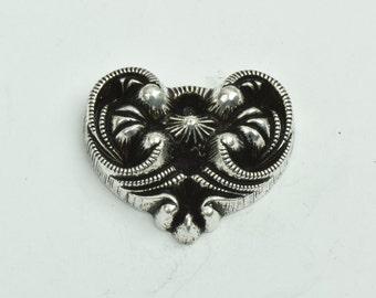 Heart button, flat back 28mm, button or embellishment , sold 3 each  09523AS