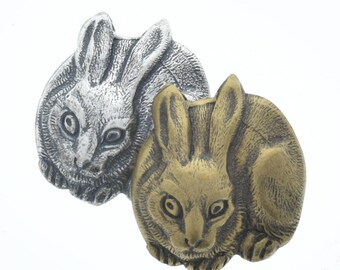 Bunny rabbit charms, stampings concave on back , made in USA, sold package of 6 , silver or brass 05409