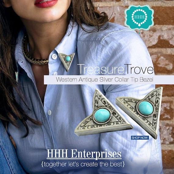 HHH Design Antiqued Copper Finish Western Collar Tip w//8x6mm Bezel