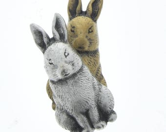 Bunny rabbit charms, stampings concave on back , made in USA, sold package of 6 , silver or brass 05403