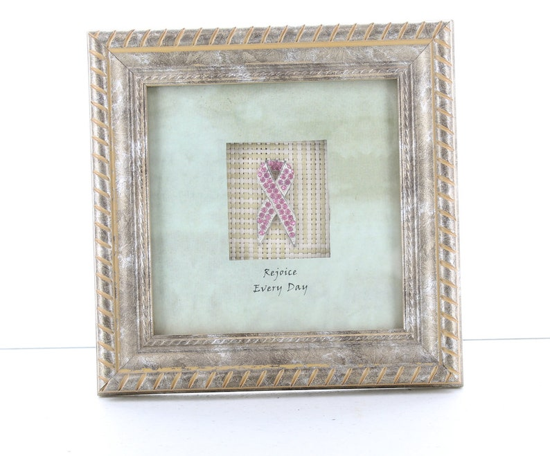 Shadow Box frame  with Pink Crystal Bow 6.5 x 6.6 803285 Rejoice every day   message
