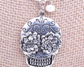 Sugar Skull Pendant Necklace, ea