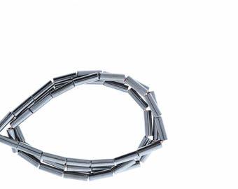 Hematite 9x3mm Tube Beads, Magnetic Hematite, 16in str 09133/93