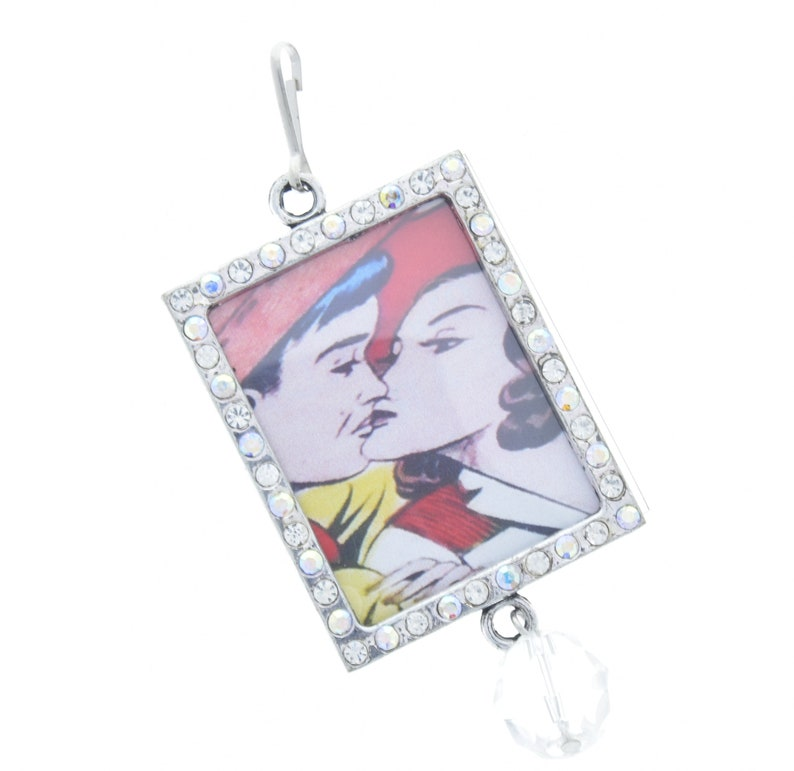 46mm x 36mm rectangle Add your own art G2204 J Crystal pendant Pendant frame sold by 3 each
