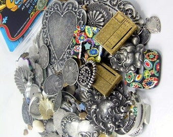 Grab Bags Metal Charms and Stampings, 1/2 pound, Mad in USA
