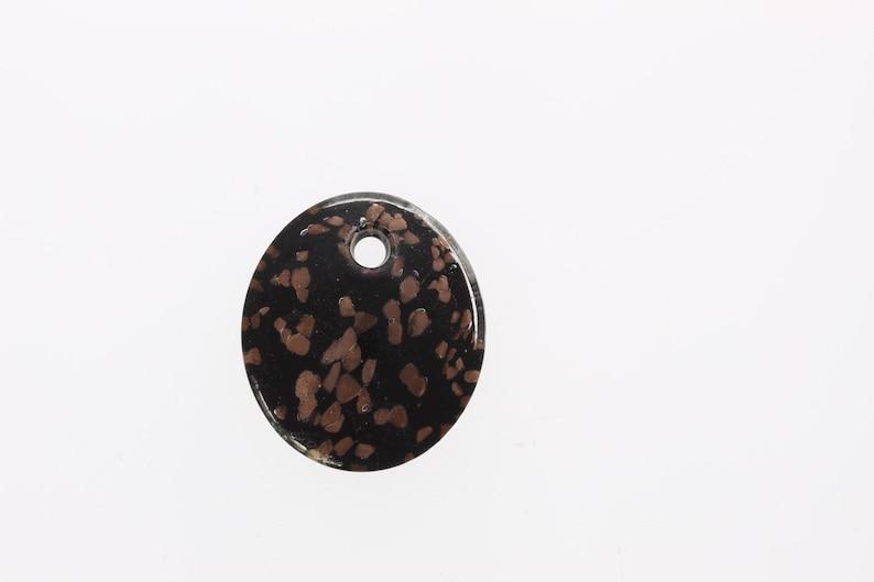 Black Glass Murano Style Pendant each Oval wMetallic Copper foil