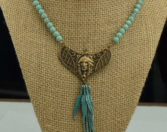Southwest American Indian Necklace , Turquoise beads each