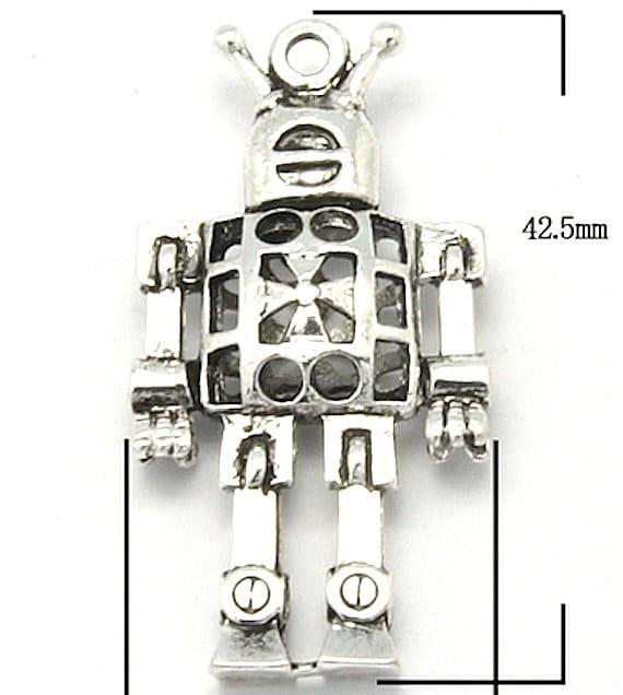 BULK 50 Robot charms antique silver  tone P210