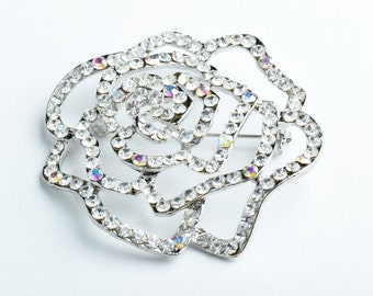 Large Rose Pin,  Clear crystal with barpin   B4089.01