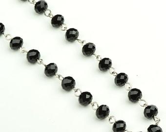 Beaded Rosary Chain Black, Glass, 3 ft C652BK