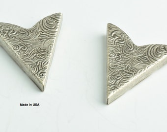 Western Tooled Collar Tip, 35mm, Antique Silver, Made in USA, pack of 2
