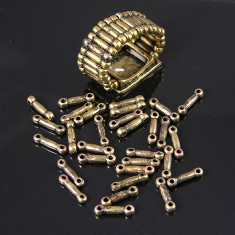 Stretch Ring Band Beads J729 1 gross Vintage bronze or silver