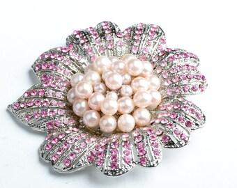 Crystal Brooch,50mm Floral Brooch/Pendant, Rose AB Crystals B327.15