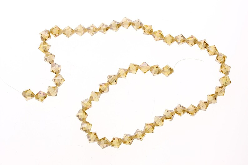 Strand Topaz Amber Yellow faceted bicone beads fire-n-Ice crystal 8mm