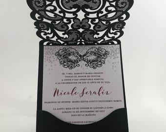 5a8c268310 Quinceanera Invitations. Red and black quince invite. Laser Cut Invitation.  Glitter Quinceanera Invite.
