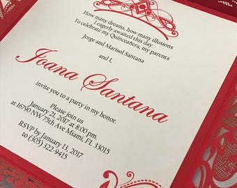Quinceanera Invitations Red and silver quince invite Laser