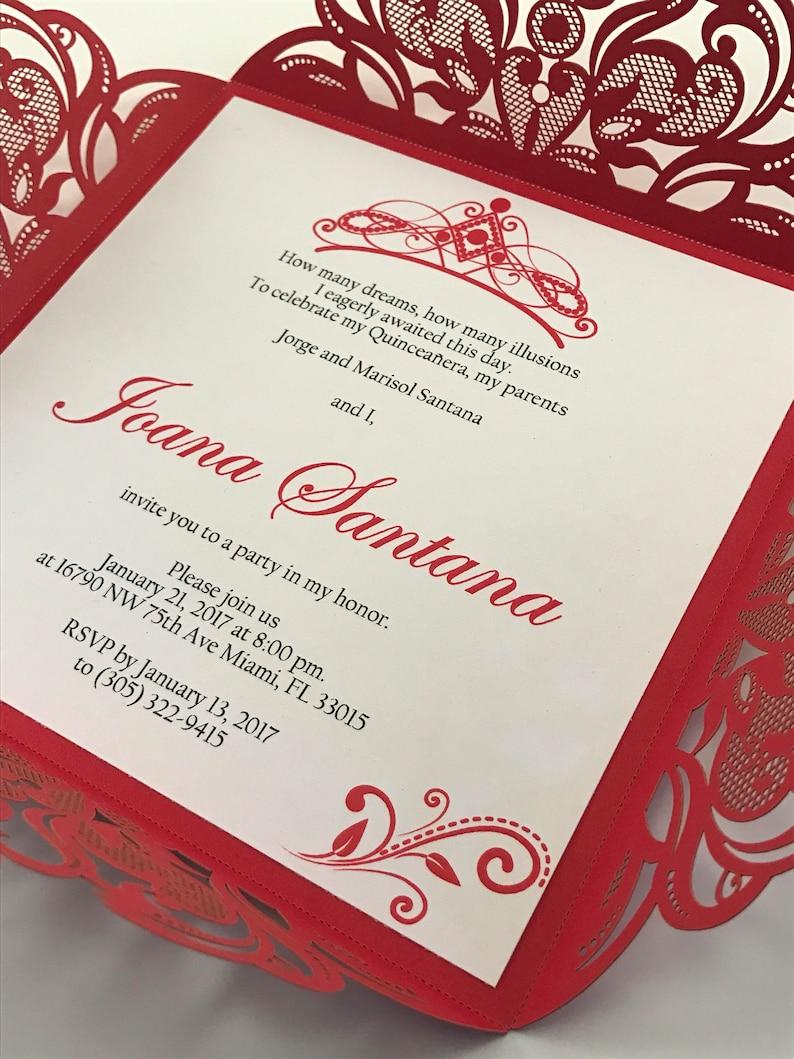 Quinceanera Invite Tiara Invitation Spanish 15th Birthday Sweet 16 Red