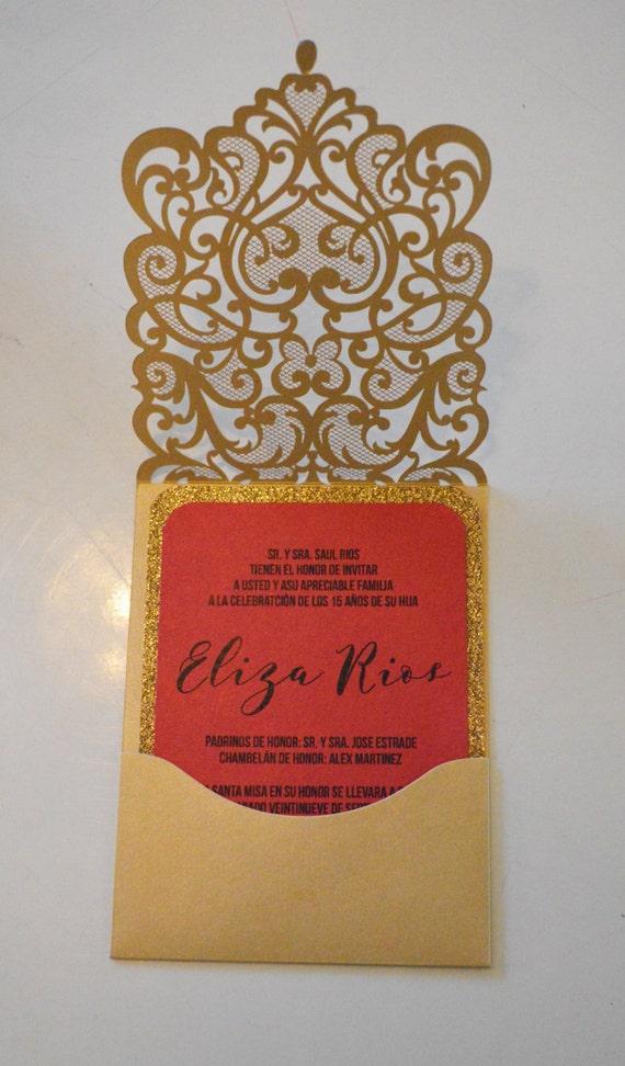 quinceanera invitations laser cut invitation spanish etsy