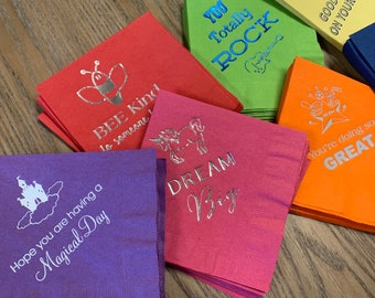Kids Paper Napkins for Lunches. Lunchbox napkins for kids. Fun kids napkins. Back to school supplies. Napkins