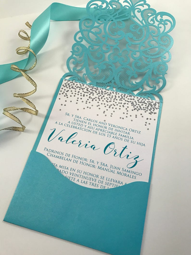 Quinceanera Invitations Aqua And Silver Quince Invite Laser Etsy