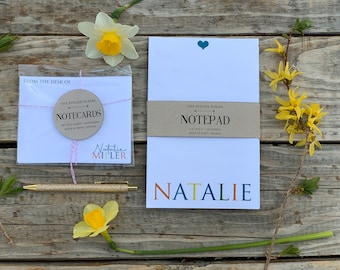 Customized Notepad and notecard set. Gift set for mom. Personalize notepad. Modern name stationery. Customized stationery gifts