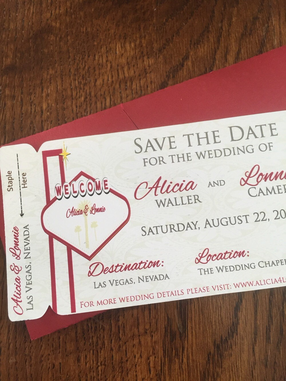 Las vegas save the date. Boarding pass wedding invitation. | Etsy