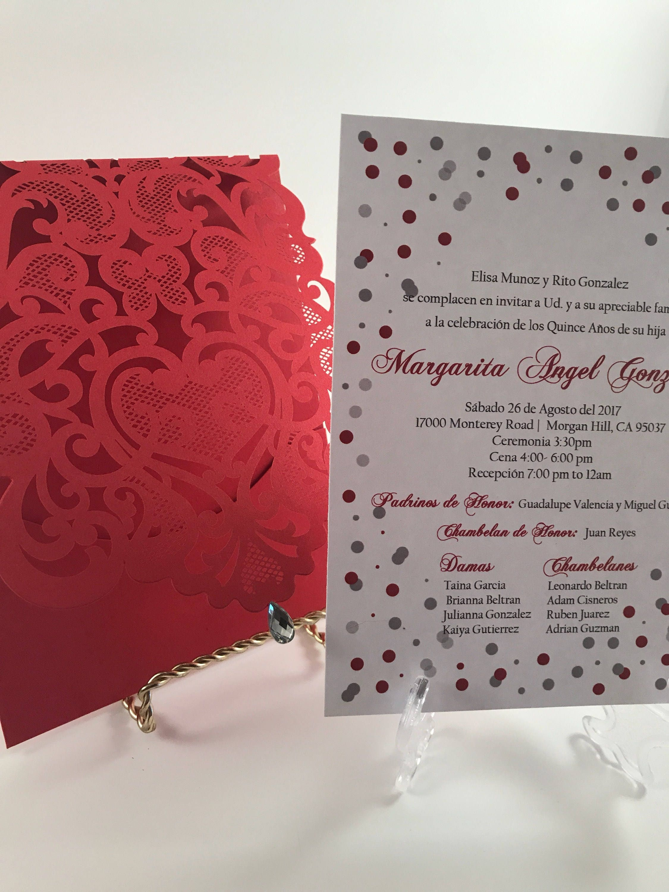 Quinceanera Invitations. Red and silver quince invite. Laser | Etsy