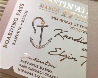 Foil Boarding Pass Invite. Beach Wedding Invitation. Destination wedding save the date.  Tropical wedding invitation. Save the date cards