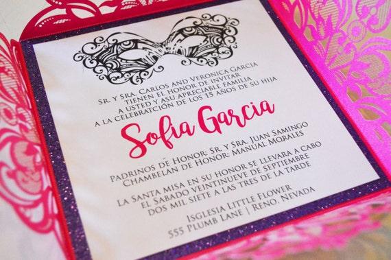 Pink Quinceanera Invitation Masquerade Spanish Sweet 16 15th Birthday Invite