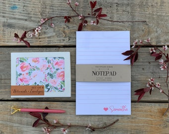 Customized Notepad and notecard set. Gift set for mom. Personalize notepad. Floral notecards