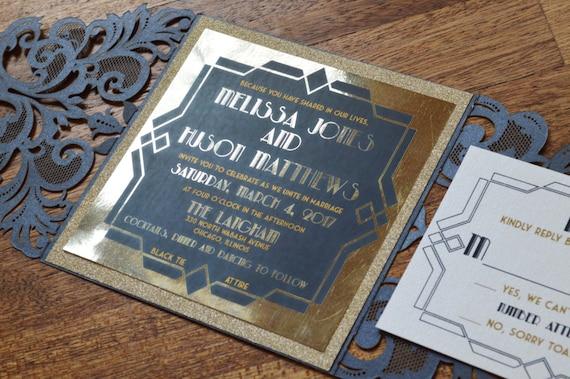 great gatsby invitation gatsby invitation gatsby wedding etsy