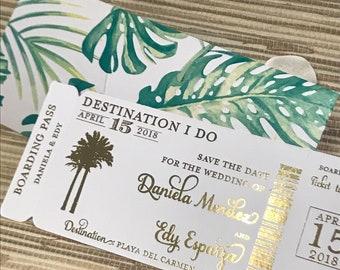 Palm fond Foil Boarding Pass Invite. Beach Wedding Invitation. Destination wedding save the date.  Foil wedding invitation.