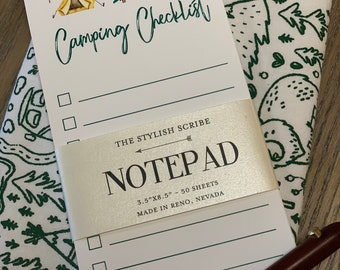 Camping Notepad. Grocery list notepad. Shopping List. Camp list.